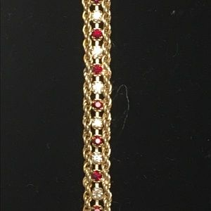 Gold-Toned Red and White Crystal Bracelet